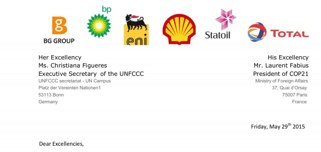 Siix European oil companies wrote to the UN and the Climate Summit