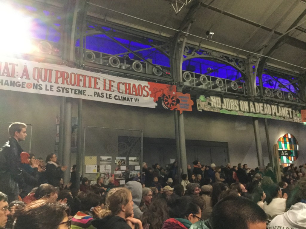 Naomi Klein spoke to over 3,000 people at the Climate Action Zone in Paris's 19th arrondissement.