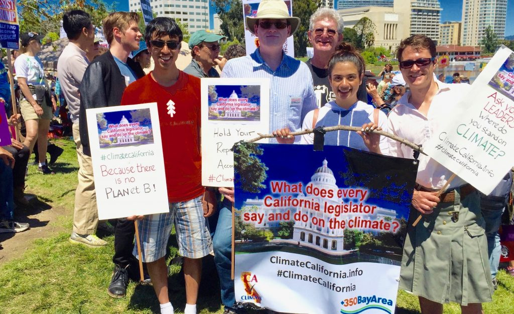 Some of the ClimateCalifornia.info team at the Oakland Peoples Climate Mobilization April 2017: Narayan Gopinathan, Mike Mielke, Felix Kramer, Noor Ramay, Antoine McGrath