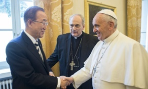 UN Secretary-General Ban Ki-Moon and Pope Francis at the Vatican Climate Summit, April 2015