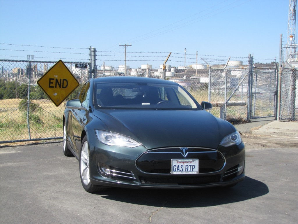 The author's Tesla Model S above the Conoco refinery in Rodeo, California.